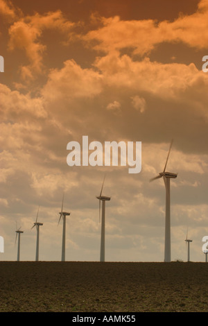 Wind turbines at a British windfarm at West Somerton Norfolk England - Stock Image