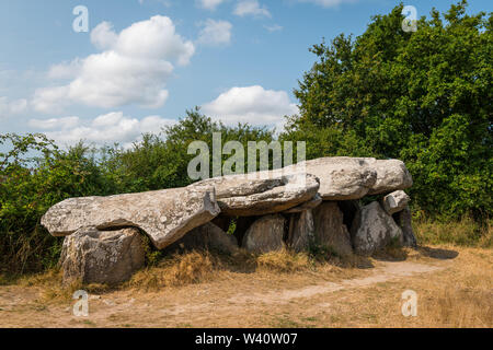 a megalithic tomb on a sunny day standing near Saint Lyphard (France) - Stock Image