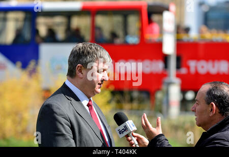 Alistair Carmichael (LibDem: Orkney and Shetland) interviewed on College Green, Westminster April 11th 2019 - Stock Image