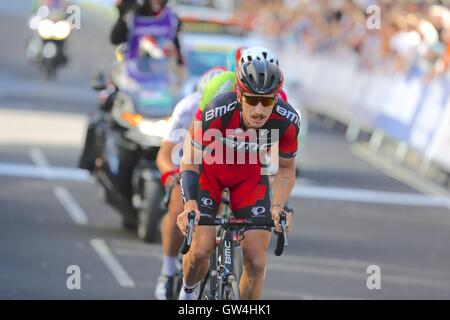 London, UK.  11th September 2016. Tour of Britain stage 8, circuit race.  Taylor Phinney, USA national time trial - Stock Image