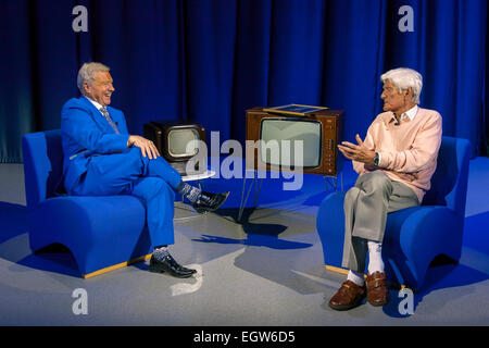 Walsall, West Midlands, UK. 2 March 2015. David Hamilton (L) with veteran broadcaster and dj Pete Murray at the - Stock Image