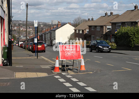 Road Ahead Closed Sign - Stock Image