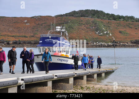 Visitors disembark from Osprey on Bryer,Isles of Scilly with the island of Tresco in the background. - Stock Image