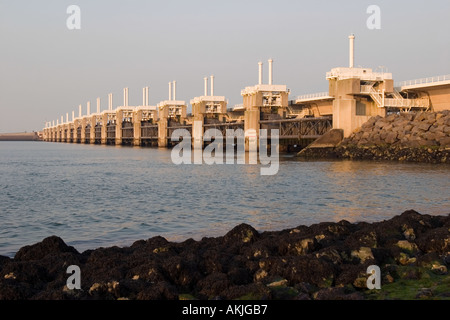Eastern Scheldt Flood barrier between Schouwen-Duivenland and Northern-Beveland, The Netherlands - Stock Image