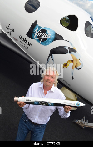 Sir Richard Branson, Founder of Virgin Galactic, at the Farnborough Airshow 2012. - Stock Image