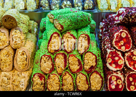 Turkish sweets multicolored candy bars Turkish delight with nuts Oriental sweets - Stock Image