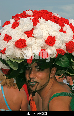Switzerland Zurich street parade raver with hat of roses - Stock Image