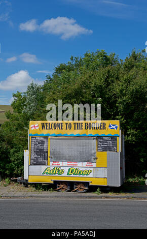 The Border diner - closed - on the A1, at the England-Scotland border, UK - Stock Image