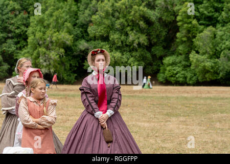 Duncan Mills, CA - July 14, 2018: Women dressed in costumes used during the civil war - reenactors at the Civil War days - Stock Image