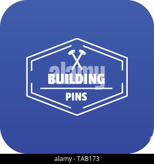 Building pin icon blue vector - Stock Image