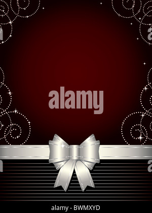 Elegant design background with shiny decoration and silver bow - Stock Image
