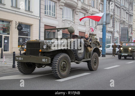Warsaw, Poland, 11 November 2018: Celebrations of Polish Independence Day in a mass march that gathered more than 200 thousand people. Dodge WC series military utility truck - Stock Image