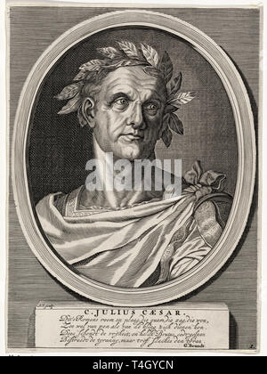 Julius Caesar portrait, Andries Vaillant, after Titian, engraving, c. 1665 - Stock Image