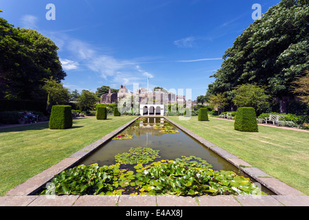 Pond and Rose Garden in Walmer Castle Official Residence of the Lord Warden of the Cinque Ports - Stock Image