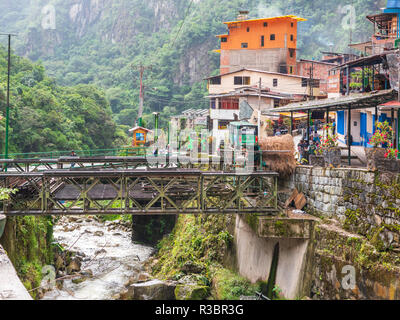 Aguascalientes, Peru - January 5, 2017. View of the Aguascalientes village in a rainy day - Stock Image