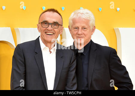Danny Boyle and Richard Curtis attend the UK Premiere of 'Yesterday' at the Odeon Luxe in Leicester Square, London, England. - Stock Image
