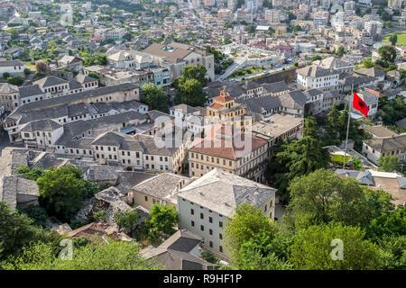 Gjirokasta Old town from Castle Albania - Stock Image