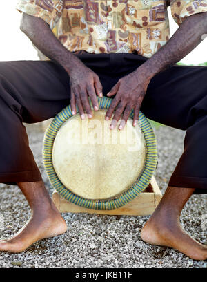 A Bele drummer plays his drum. Fort de France, Martinique. Caribbean. - Stock Image