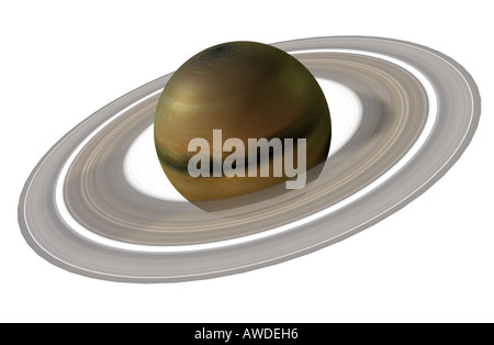 Der The Saturn is the second largest planet of the solar system and on the sixth position - Stock Image