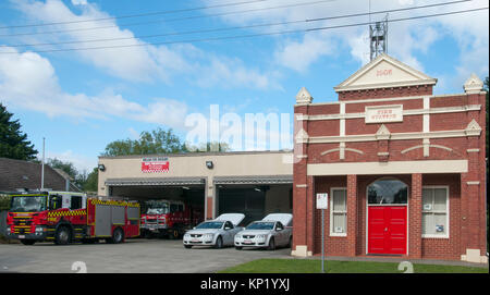 Volunteer-operated country fire station at Ballan, western Victoria, Australia. - Stock Image
