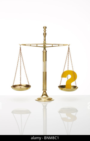 Weighing Scales with Question Mark - Stock Image