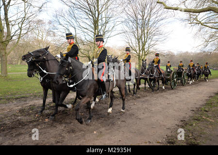A 41-gun salute was held by the King's Troop Royal Horse Artillery in Green Park, near Buckingham Palace, to mark - Stock Image