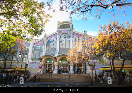 The east facade and entrance to Valencia Central Market - Stock Image