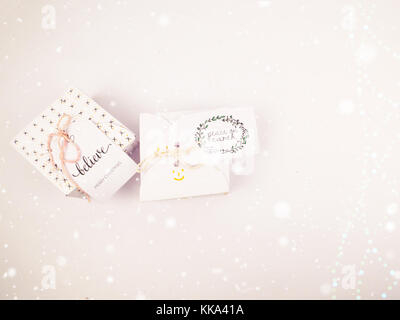 Christmas decoration with square gift box for celebration with snow falling best Christmas holidays background image - Stock Image