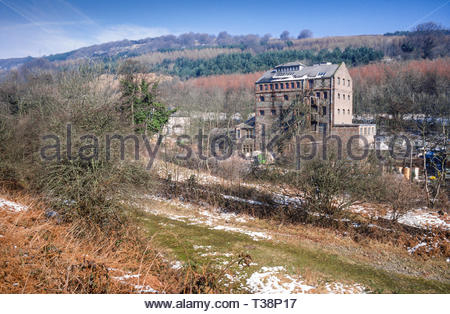 The former Westlake Brewery, in Abersychan, Eastern Valley, South Wales valleys, Gwent, Wales, UK  being used as a plastics factory  – winter  – Grade II listed building –1980s (1987) - Stock Image