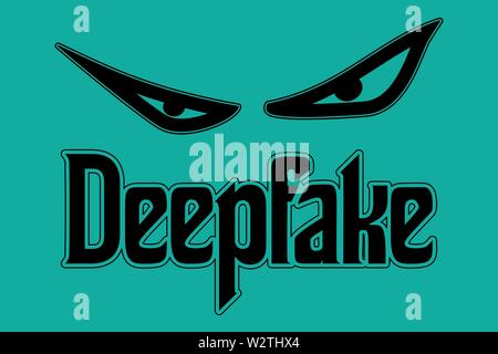 Deepfake concept of evil eyes in vector - Stock Image