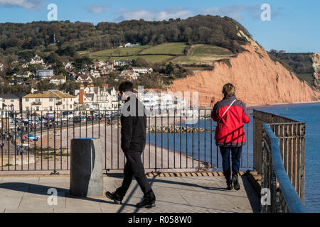 Sidmouth, Devon. 2nd Nov 2018. UK Weather: People take in the view of Sidmouth seafront from Connaught Gardens above the town. Photo Central/Alamy Live News - Stock Image