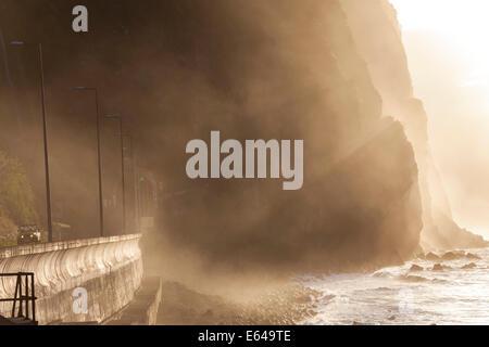 Car & road tunnel, north coast, Madeira, Portugal - Stock Image