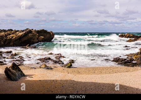 Waves and surf at Fistral Beach, Newquay, Cornwall, UK - Stock Image