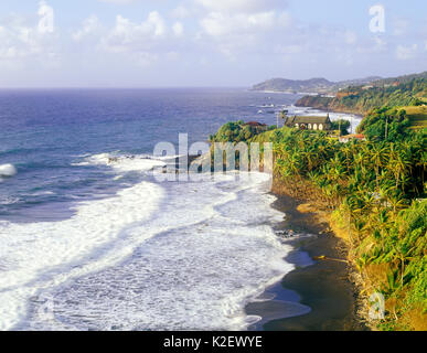 The Biabou Anglican Church in the Parish of Charlotte faces east  on the Windward Coast of St. Vincent. Georgetown, St. Vincent. West Indies. - Stock Image