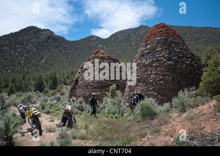 Nevada charcoal kiln mining historical stone furnace - Stock Image