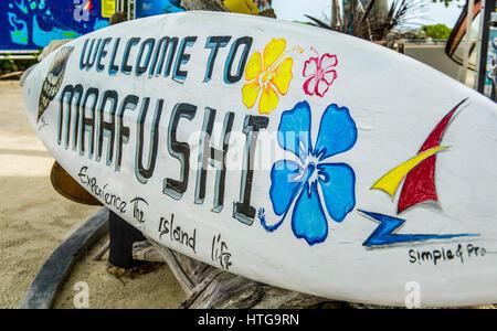 Surf board on Maafushi Island, Maldives - Stock Image
