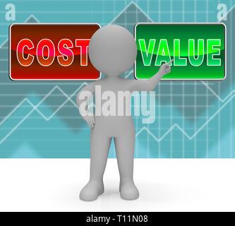 Cost Vs Value Graph Denotes Return On Investment Roi. Spending And Expenses Versus Net Profit - 3d Illustration - Stock Image