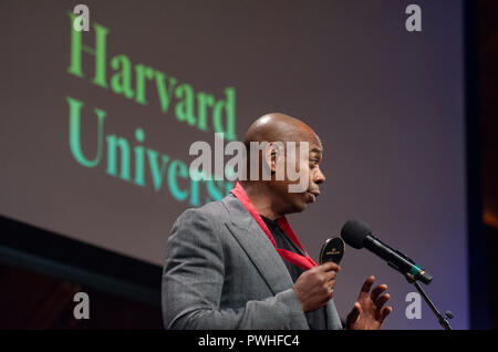 10/11/2018: Hutchins Center, Harvard University, Cambridge, MA. Actor and Comedian Dave Chappelle speaking after receiving a W.E.B. Du Bois medal.  Chappelle was one of eight African Americans to receive the medal for their contribution to African and African American history and culture at Harvard University in Cambridge, Massachusetts, USA. The W.E.B. Du Bois medals have been awarded yearly since 2013 to those who have made significant contributions to African and African American history and culture. - Stock Image