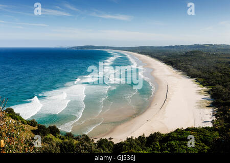Overview of Tallows Beach from Cape Byron in Byron Bay. - Stock Image