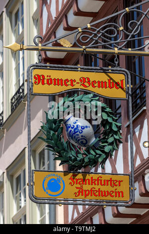 The Ršmer, City Hall of Frankfurt am Main, Ršmerberg Platz, sign for an apple wine restaurant, - Stock Image