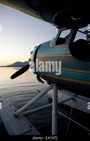 Cessna 195 on floats at the Seaplane Splash-In, Lakeport, California, Lake County, California - Stock Image