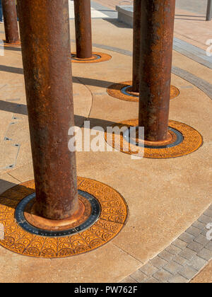 Detail of Golden Spiral sculpture made from cast iron columns salvaged from the old West Pier, Brighton Promenade Piazza, East Sussex, England, UK - Stock Image