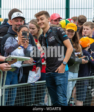 Silverstone, UK. 14th July, 2019.  FIA F1 Grand Prix of Britain, Race Day; ROKiT Williams Racing driver George Russell meets the fans Credit: Action Plus Sports Images/Alamy Live News - Stock Image