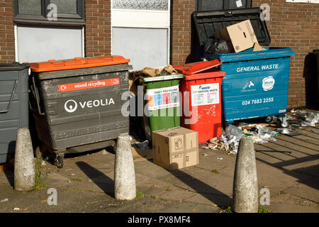 Recycling bins and rubbish in Coventry city centre UK - Stock Image