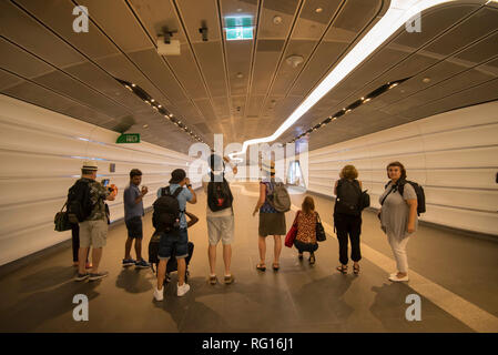 Amateur photographers at the popular Wynyard Tunnel, that connects Barangaroo South business and dining area in Sydney Australia, with Wynyard Station - Stock Image
