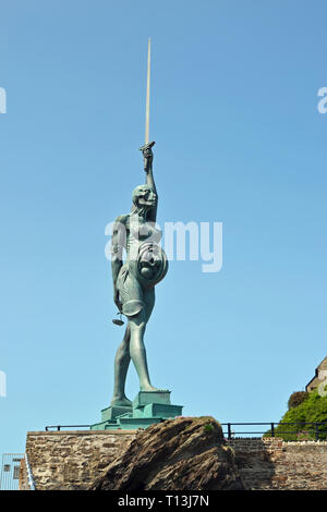 Verity Statue on The Pier, Ilfracombe Harbour, Ilfracombe, Devon, UK - Stock Image