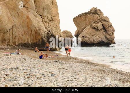 Aphrodites Rock, Petra tou Romiou, birthplace of Aphrodite, Paphos, Cyprus October 2018 - Stock Image