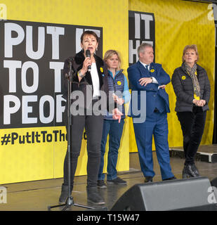 London, UK. 23rd Mar, 2019. Caroline Lucas MP for the The Greenes with Justine Greening Mp. Ian Blackford MP and SNP leader and Anna Soubry MP speaking at the People's Vote March and rally, 'Put it to the People.' Credit: Prixpics/Alamy Live News - Stock Image