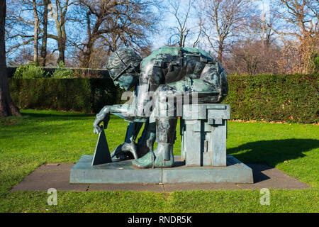Master of the Universe sculpture by Eduardo Paolozzi at Scottish National Gallery of Modern Art - Two, in Edinburgh, Scotland, UK - Stock Image