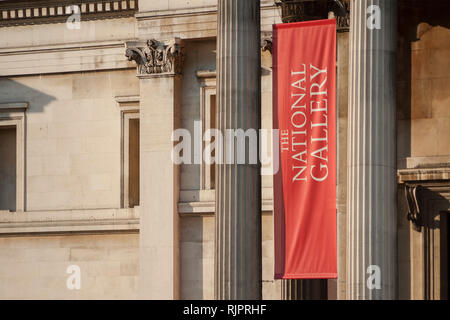 London, Uk - February 4, 2019 - Detail of the facade of the London National Gallery at Trafalgar Square - Stock Image